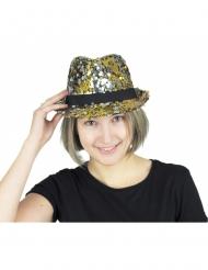 Hat med tofarvede pailletter sølv og guld