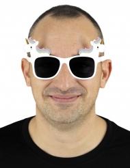 Enhjørning briller hvid voksen