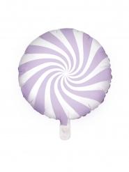 Aluminium ballon slikkepind lilla og hvid 45 cm