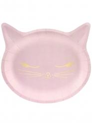 6 Paptallerkner kattehoved lyserød 22 x 20 cm