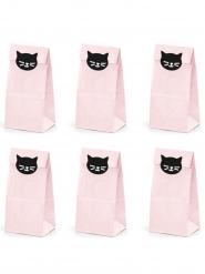 6 Gaveposer i papir kat lyserød 8 x 18 x 6 cm
