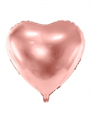 Aluminium ballon hjerte gammel rosa 45 cm
