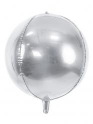 Aluminium ballon rund metallisk sølv 40 cm