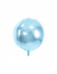 Aluminium ballon rund metallisk lyseblå 40 cm