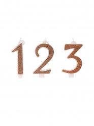 Fødselsdag stearinlys tal rosaguld 13 cm