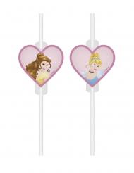 Sugerør med vignette Disney™ Prinsesser - Hjerte