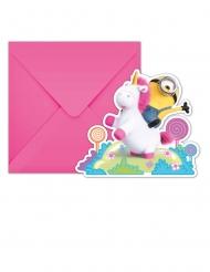 6 Invitationskort med kuverter Minions Enhjørning™