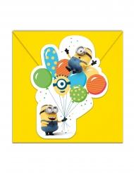 6 Invitationskort med kuvert Minions™ fest