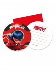 6 Invitationskort med kuvert Miraculous Ladybug™