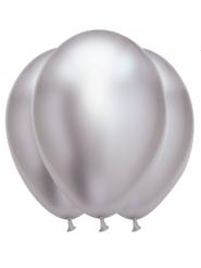 6 Balloner sølvfarvet latex 31 x 39 cm