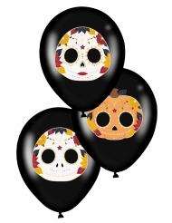 Latex balloner Dia de los Muertos sot 28 cm 6 stk