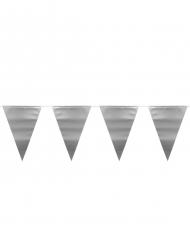 Vimpel guirlande metallisk sølv 6 m