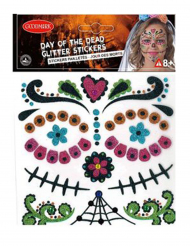 Klistermærker Dia de los Muertos med glimmer