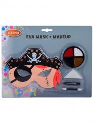 Sæt med maske og make-up pirat - barn