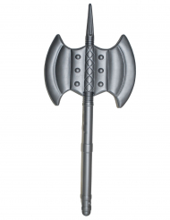 dobbeltsidet økse plastik middelalder grå 85 cm