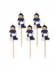 5 Stearinlys fodbold blå og sort 8 cm