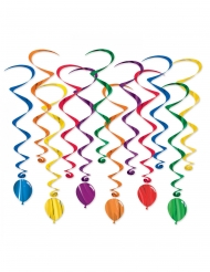 12 Spiralophæng farvede balloner 43 - 86 cm