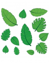 12 cutouts i karton tropiske blade 10 - 30 cm