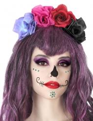Farverif hårbøjle med blomster Dia de los Muertos