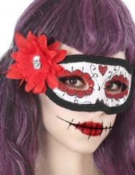 Dia de los Muertos maske med rød blomst