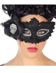 Blonde Maske Dia de los Muertos sort til voksne