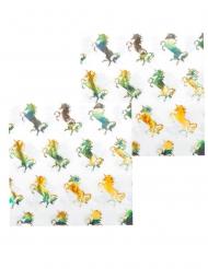 12 Papirservietter enhjørning hologram 33 x 33 cm