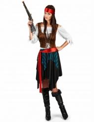 Piratkostume med blå og sorte striber stor størrelse kvinde