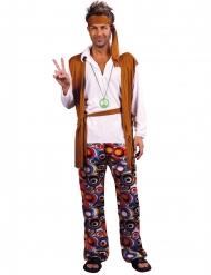 Hippiekostume brun og hvid stor størrelse mand