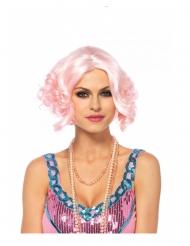 Luksus paryk med kort lyserød hår