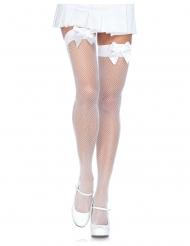 Netstrømper med sløjfe hvid - kvinde