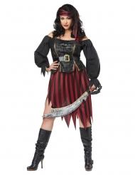 Pirat kostume stor størrelse sort og rød - kvinde