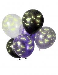Latex ballon selvlysende flagermus 30 cm 6 stk