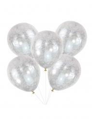 5 Balloner gennemsigtig latex englehår sølv 30 cm.