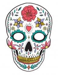 Dia de los Muertos maske hvid i pap 19 x 28 cm