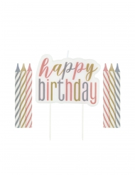 Happy Birthday stearinlys pastel