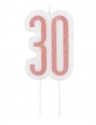 Fødselsdag stearinlys 30 år glimmer lyserød