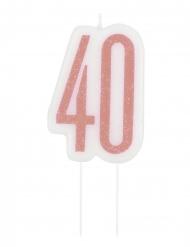 Fødselsdag stearinlys 40 år glimmer lyserød
