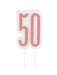 Fødselsdag stearinlys 50 år lyserød glimmer 7 cm