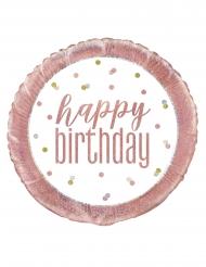 Aluminium ballon Happy Birthday hvid og lyserød 45 cm