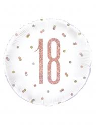 Aluminium ballon 18 hvid med lyserød glimmer 45 cm