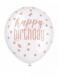 6 Balloner Happy Birthday hvide og lyserøde prikker 30 cm