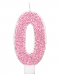 Fødselsdag tal lys lyserød glimmer  7 cm