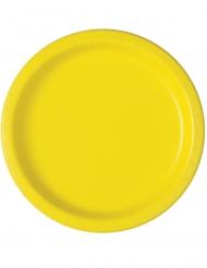 16 Paptallerkner i lys gul 23 cm