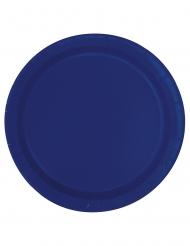20 Små paptallerkner marineblå 18 cm