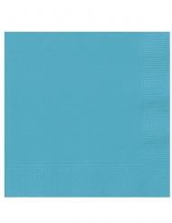 20 Små papirservietter blåturkis 25 x 25 cm