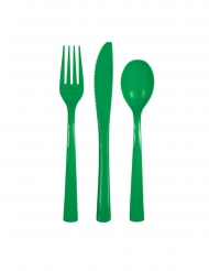 18 stk plastikbestik grøn