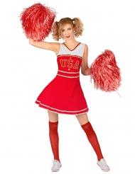 Pompon pige USA kostume rød - kvinde