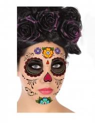 Dia de los Muertos ansigtstatoveringer farverige