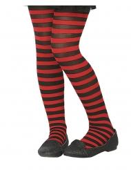 Stribede strømpebukser sort og rød - barn
