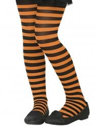 Strømpebukser sort orange med striber til børn